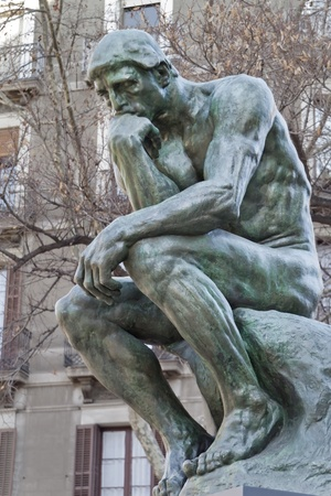 intention: The Thinker, (copy)famous statue by Auguste Rodin In Barcelona Spain. Editorial