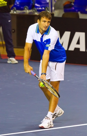 tommy: BARCELONA - NOVEMBER 22:Tommy Robredo tennis player from Spain. during the match Andres Gimeno cup tribute held at the Palau Blaugrana on November 22, 2011 in Barcelona, Spain