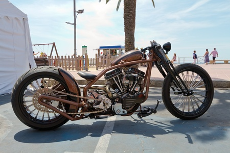 LLORET DE MAR, SPAIN - JUNE 13: custom bikes are displayed in the European motorcycle Week June 13, 2010 in Lloret de Mar, Spain. The event is considered one of the largest motorcycle events in Europe.