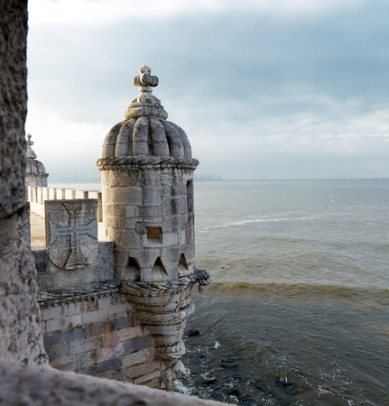 Detail of Torre de Belem in Lisbon, Portugal
