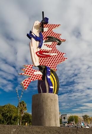 Barcelona Head - A sculpture by Roy Lichtenstein in Barcelona  Stock Photo