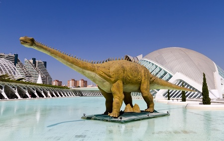 felix: VALENCIA, SPAIN - AUGUST 21: Mechanical dinosaur in The City of Arts and Sciences on August 21, 2011 in Valencia, Spain. This futuristic building was designed by the famous architect Santiago Calatrava.  Editorial