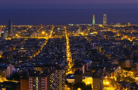 Night panorama of the city of Barcelona Spain, From the mountain of Montjiuc. Stock Photo