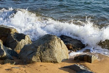 waves crashing on the beaches of the Costa Brava, Spain photo