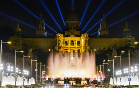 Famous light show in front of the National Art Museum in Barcelona  photo