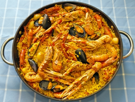 Tradition Seafood Spanish Paella in Pan, this is a typical spanish dish.  Stock Photo