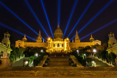 Famous light show in front of the National Art Museum in Barcelona