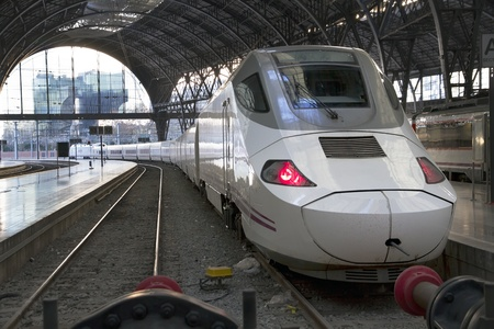transient: BARCELONA, SPAIN - JANUARY 08  High-speed train, TGV, parked at the station in France, Barcelona  Taken in Barcelona on January  08, 2012