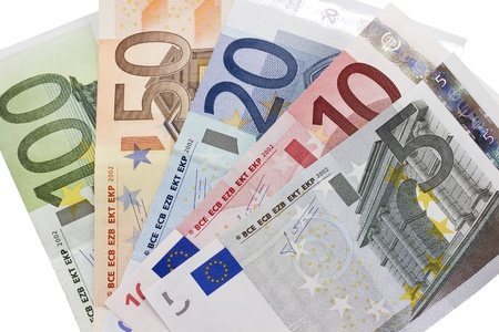 Close-up of the fan of 5, 10, 20, 50, 100, Euro banknotes on white background  photo