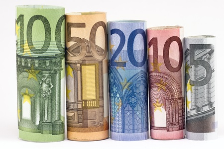Rolls of various Euro banknotes isolated on white   Stock Photo