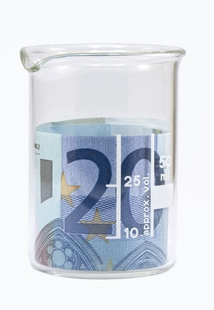 Twenty euro banknote in white beaker Isolated on white background photo