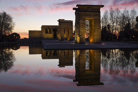 The egyptian temple of Debod in Madrid, Spain  Stock Photo
