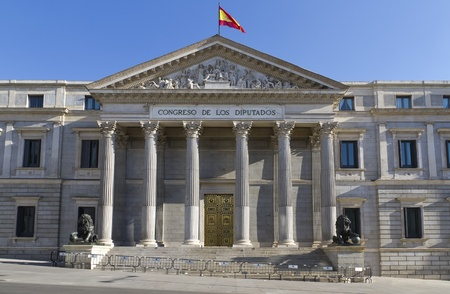 The sculpture of lion (1860) before the building of Spanish parliament in Madrid