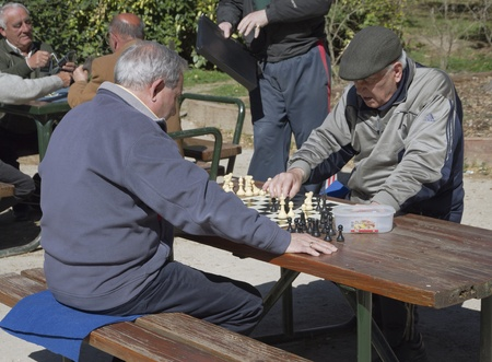 Madrid, March 9, 2012  In the Retiro Park in Madrid, Spain, our seniors gather to play chess and cards  Stock Photo - 12754339