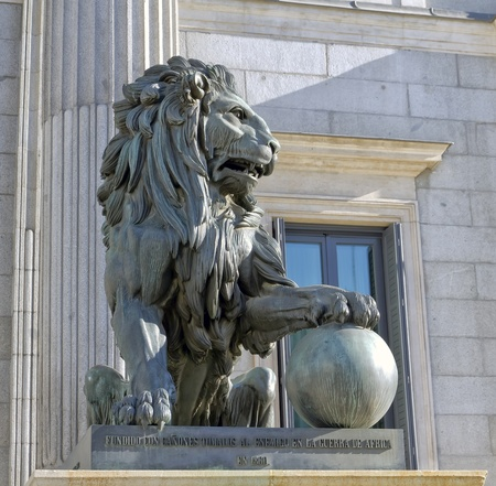 Lion of the Congreso de los diputados  Spanish Parliament Stock Photo