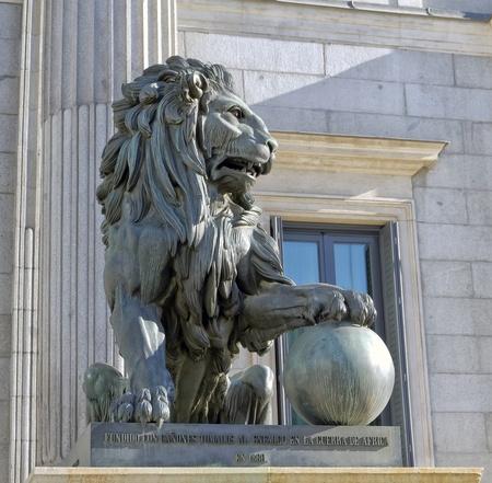 neoclassic: Lion of the Congreso de los diputados  Spanish Parliament Stock Photo