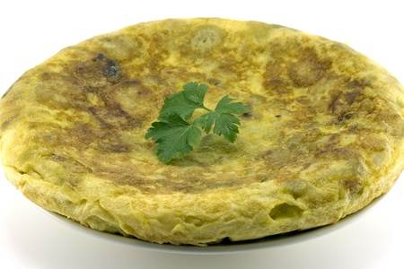 omelette: Spanish omelette with potatoes, parsley leaf gift auction, white background Stock Photo