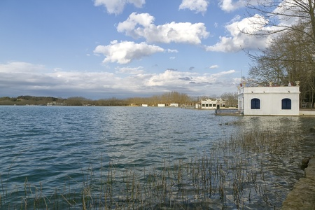 laque: Lake Banyoles in pla de estany, Spain Girona, Panoramic Photography at sunset.