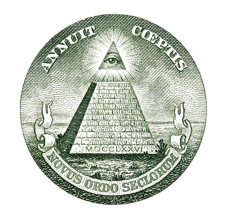freemasonry: Dollar pyramid on white background macro  Stock Photo