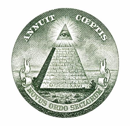 illuminati: Dollar pyramid on white background macro  Stock Photo