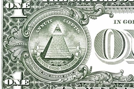 Dollar pyramid on white background