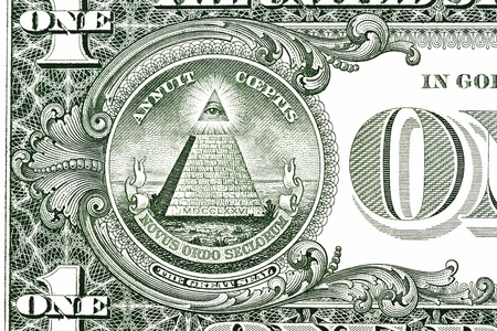freemasonry: Dollar pyramid on white background