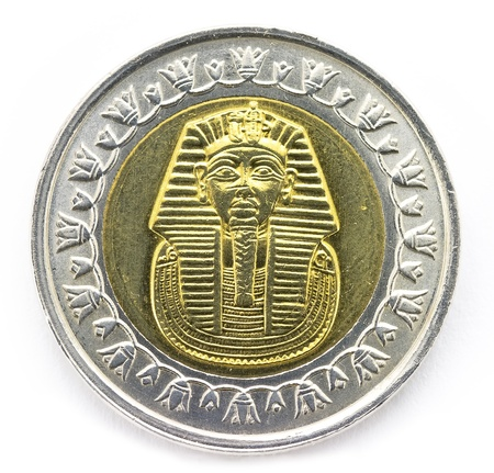 Arab Republic of Egypt, the coin of 1 pound, shows the pharaoh Tutankhamen  photo