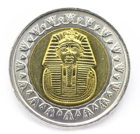 Arab Republic of Egypt, the coin of 1 pound, shows the pharaoh Tutankhamen  photo