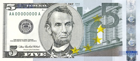 Bill of former U.S. president. Abraham Lincoln five-dollar bill combined with five Euros photo
