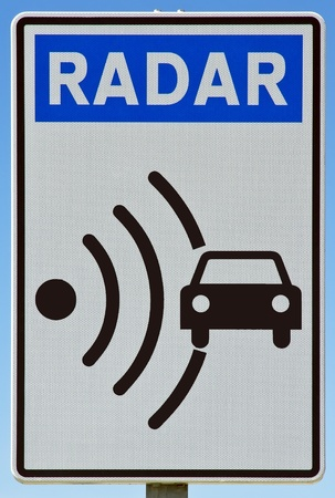 forewarning: Signal indicator radar signal, found on roads in Spain Europe Stock Photo