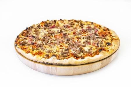 Pizza neat s tongue  italian kitchen  Studio  On wooden plate photo