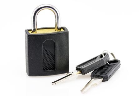 Padlock with keys on white background  photo