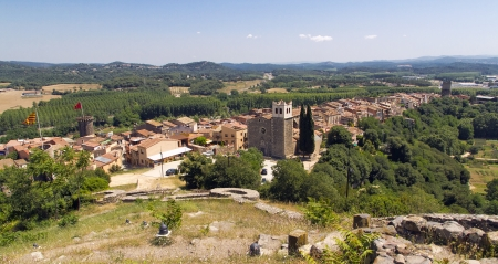 Panoramic over Hostalric, Girona, View from the castle. Stock Photo - 14176134
