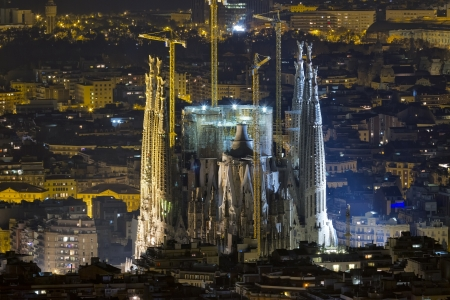 Sagrada Familia Barcelona Spain, illuminated night view