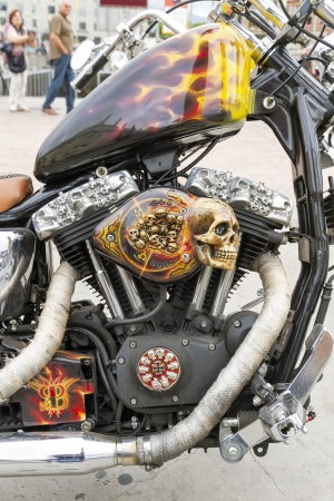 BARCELONA, SPAIN - JULY 08  Customized motorcycle detail, with a Harley Davidson motorbike at an exhibition during BARCELONA HARLEY DAYS 2012, on July 08, 2012, Barcelona, Spain