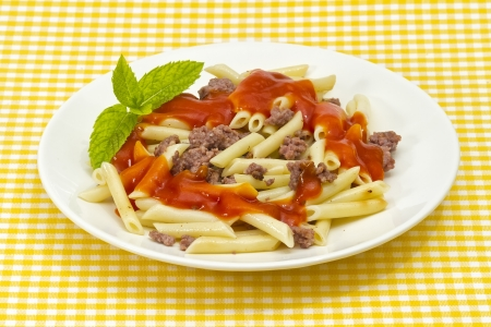 Traditional Italian macaroni pasta with tomato adorned with mint photo