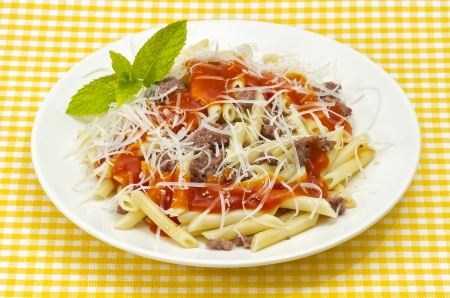 Traditional Italian macaroni pasta with tomato and grated cheese adorned with mint photo