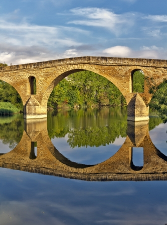romanesque bridge over river Arga, Puente La Reina, Road to Santiago de Compostela, Navarre, Spain Stock Photo - 15020537