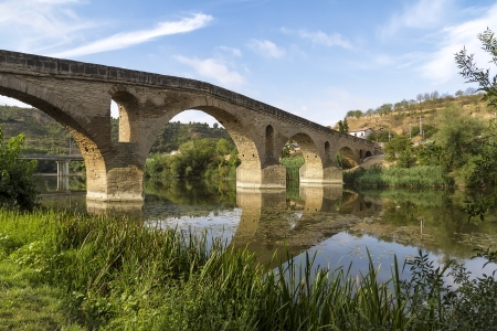 romanesque bridge over river Arga, Puente La Reina, Road to Santiago de Compostela, Navarre, Spain Stock Photo - 15020833