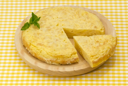 Spanish omelette with potatoes, parsley leaf gift auction