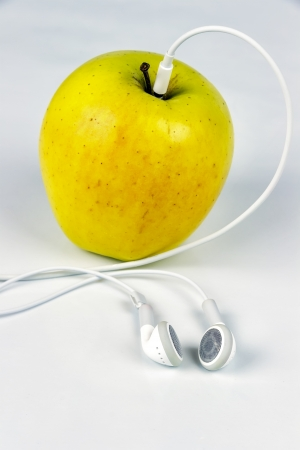 headset voice: Apple player, Apple Headset with neutral background