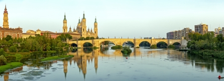 View of the Basilica Cathedral of Our Lady of the Pillar, Catedral Basilica de Nuestra Señora del Pilar, Zaragoza Spain Stock Photo