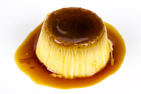 tasty home made egg flan with caramel  photo