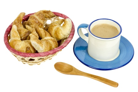 boxwood: breakfast with croissants and coffee  with boxwood spoon, on white background