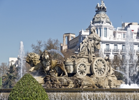 Cibeles Fountain in Madrid, Spain  One of the best known symbols of the city of Madrid  新聞圖片