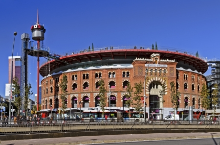 arenas: Bullring Arenas on Spain Square  Of traditional neo-Mudejar style  New shopping center in Barcelona  Inside is a museum of rock and roll  Opened in June 1900  Barcelona, Catalonia, Spain