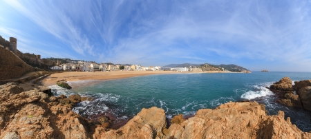 Panoramic of 45Mpx Tossa de Mar, Spain, resorts typical Catalan in Costa Brava photo
