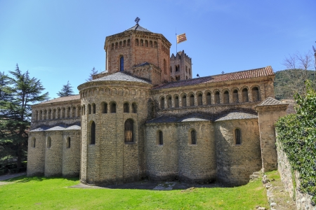 Santa Maria de Ripoll monastery, Catalonia, Spain  Founded in 879, is considered the cradle of the catalan nation   版權商用圖片