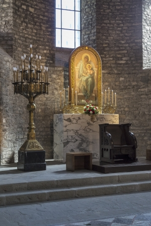 high altar: Santa Maria de Ripoll monastery, Catalonia, Spain  Founded in 879, is considered the cradle of the catalan nation   Editorial