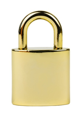padlock, Metallic Gold, isolated on white background  photo